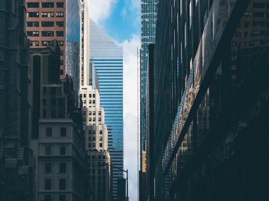 Midtown Manhattan sunlit office buildings