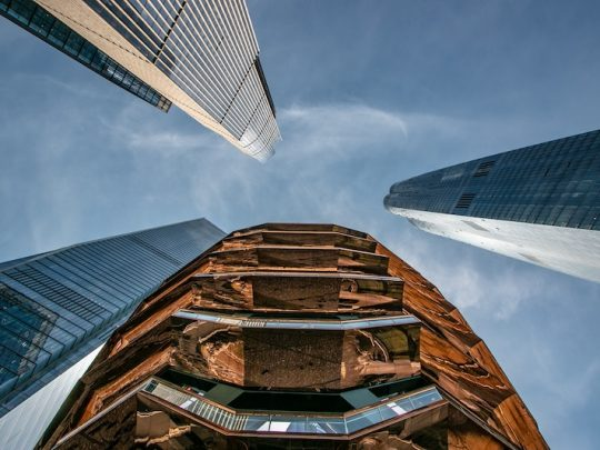 Hudson Yards and The Vessel from below