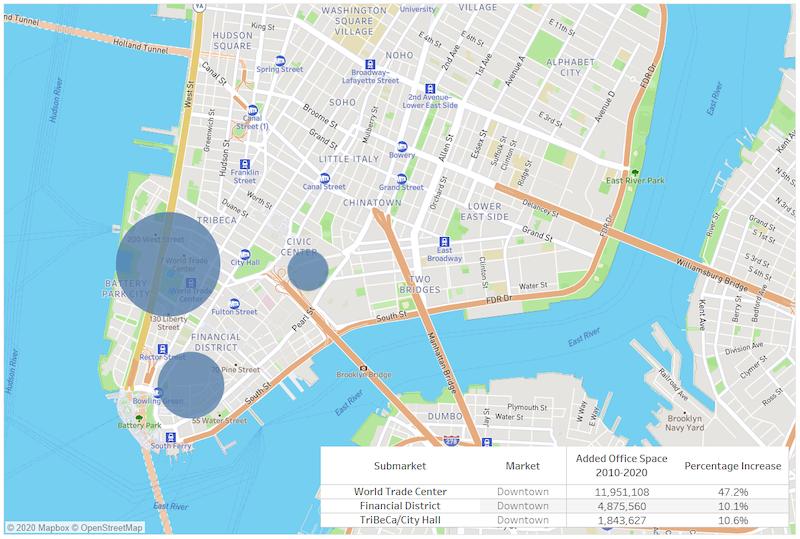 Downtown Manhattan Office Development 2010-2019